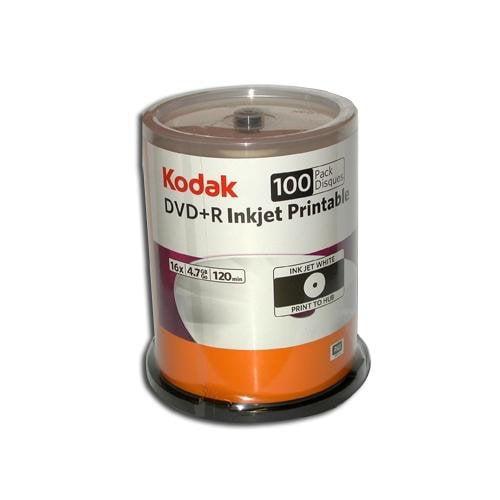 Kodak 52499 DVD Plus R 4.7Gb 100Pk Spindle White Inkjet Prntble