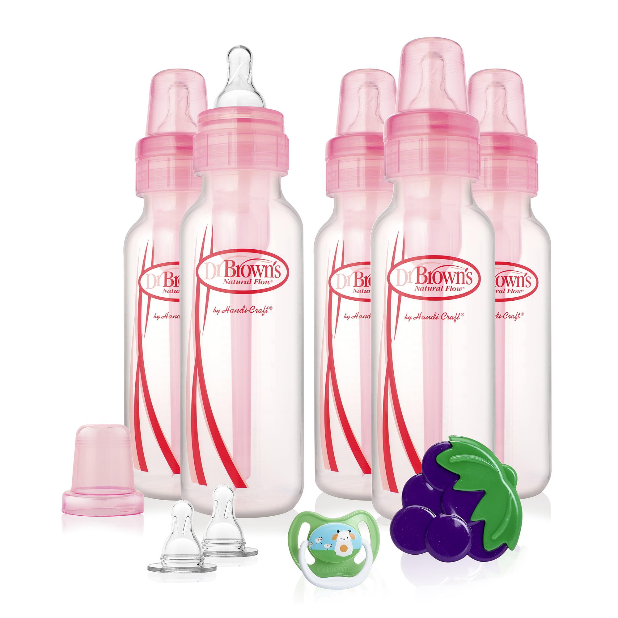 Dr. Brown's Standard Neck Baby Bottle Gift Set, Pink, 8 Oz, 5 Ct