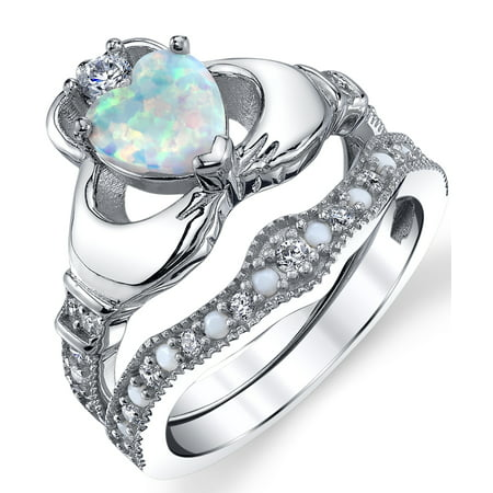 Sterling Silver 925 Heart Shape Claddagh Engagement Ring Wedding Bridal Sets with White Simulated Opal