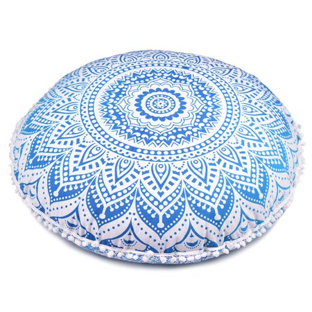 """Blue Round Throw Decorative Floor Cushion Cover Mandala Floor Pillow Cases for Summer Patio and Garden Decor Size 32"""" by Goood Times"""