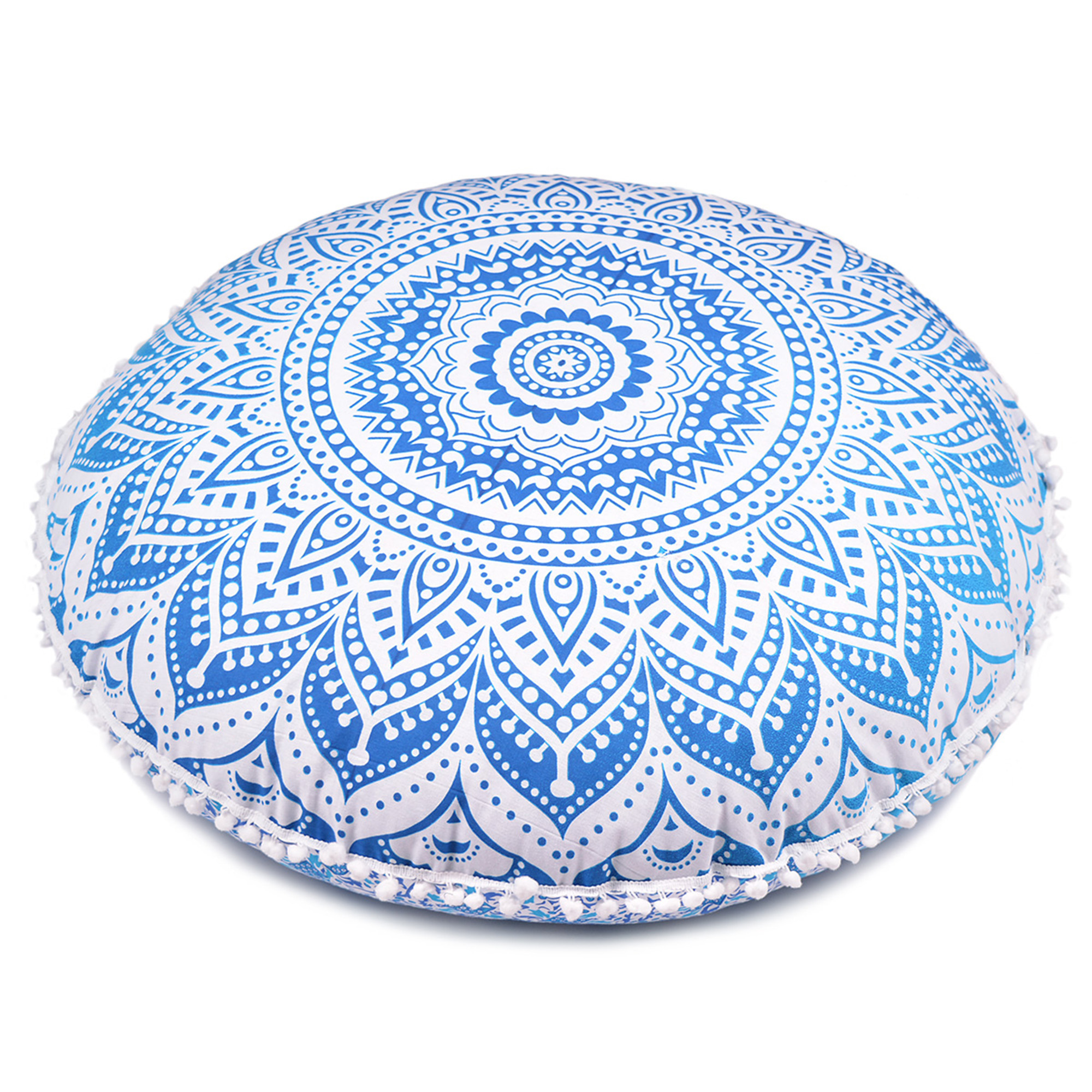 "Blue Round Throw Decorative Floor Cushion Cover Mandala Floor Pillow Cases for Summer Patio and Garden Decor Size 32"" by Goood Times"