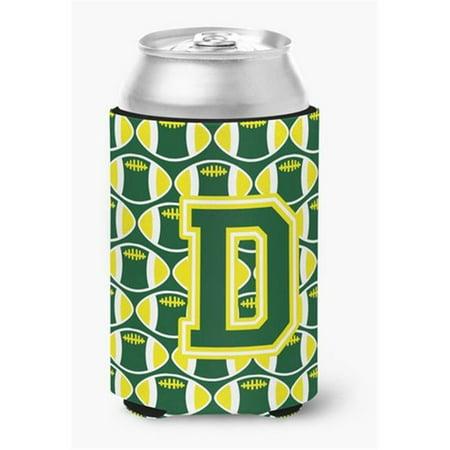 Letter D Football Green & White Can or Bottle Hugger - image 1 de 1
