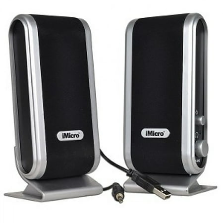 iMicro 2.0-Channel USB 2.0 Multimedia Speaker System, Black