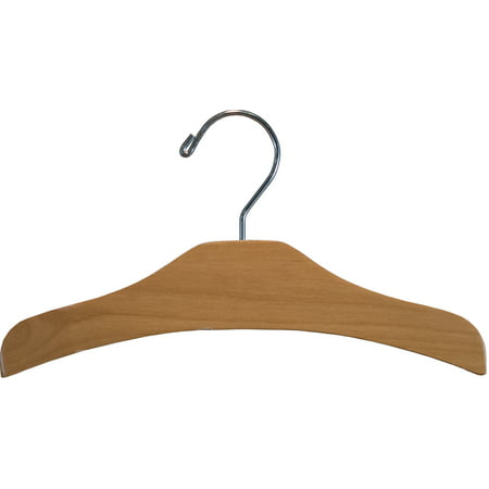 Alder Wood Arched Kids Top Hanger with Matte Natural Finish (Box of 12) by International