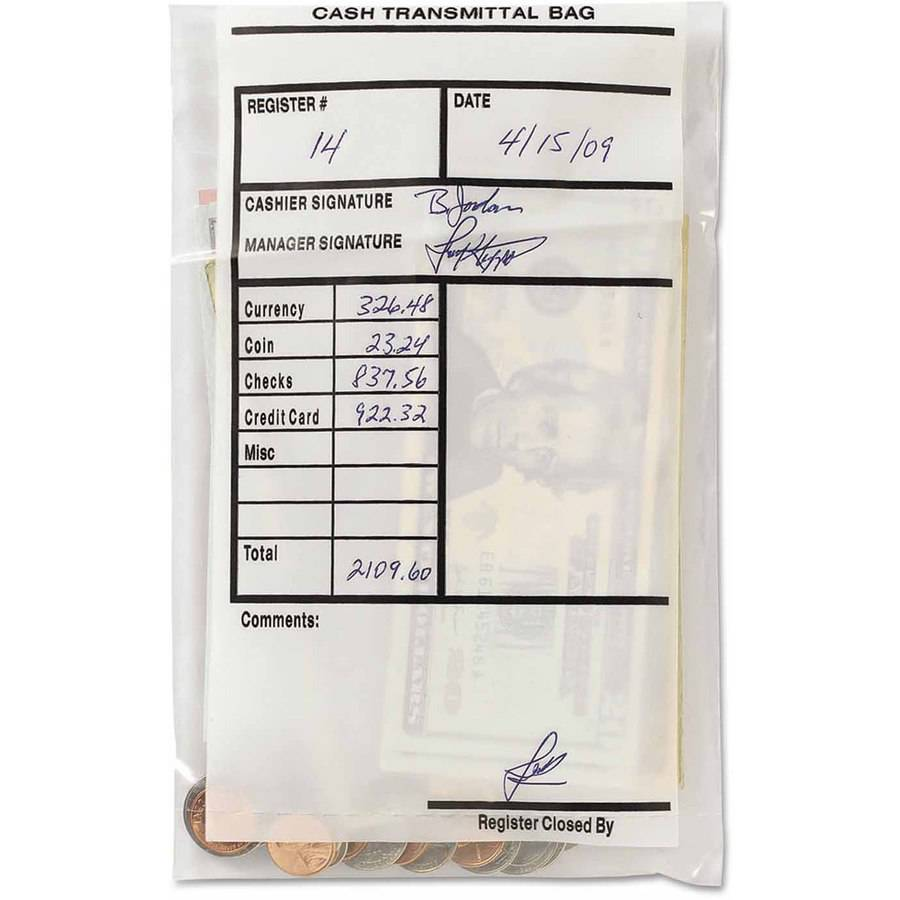 "MMF Industries Cash Transmittal Bags, Self-Sealing, 6"" x 9"", Clear, 100 Bags/Box"