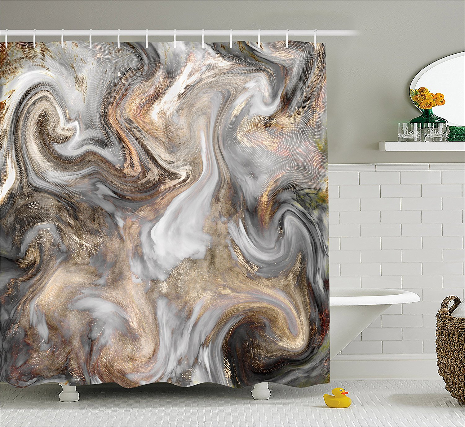 Marble Shower Curtain by , Retro Style Paintbrush Colors ...