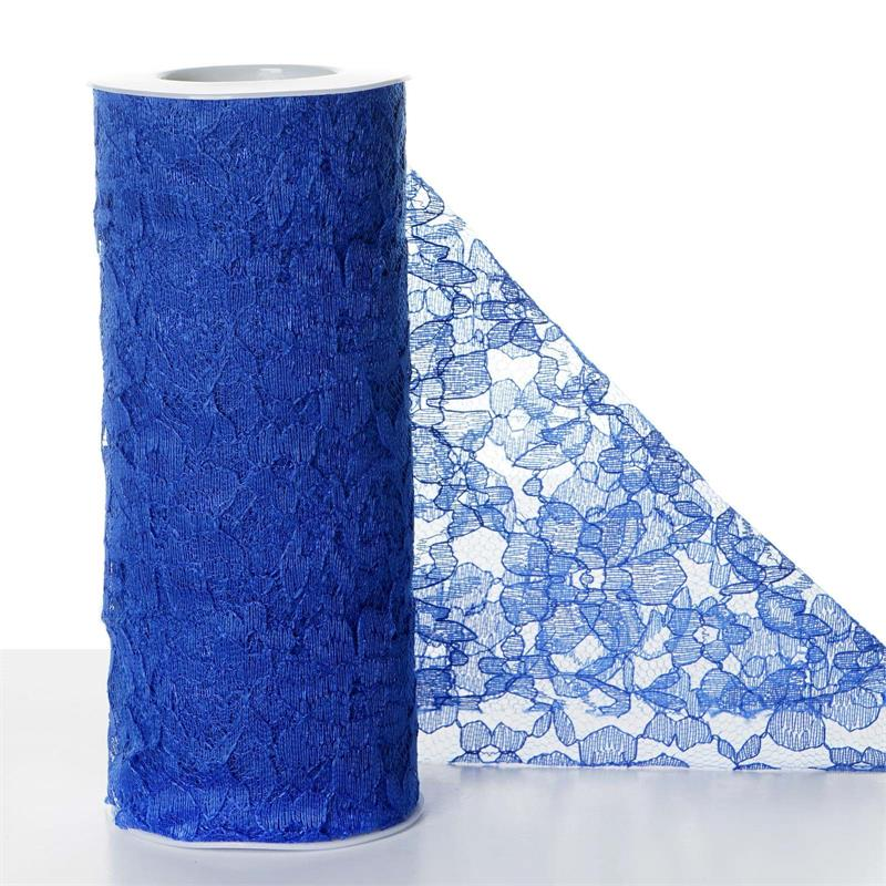 6 inches x 10 yards Lace Ribbon Roll - Royal Blue