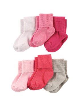 Roll Cuff Socks, 6-Packs (Baby Girls)