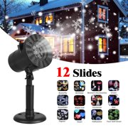 Christmas Projector Light Outdoor 12 Pattern, Range 19x19ft Projection Distance Holiday Projector Light, IP44 Waterproof Landscape Garden LED Lights for Christmas