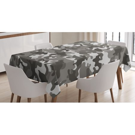 Camouflage Tablecloth, Monochrome Army Attire Pattern Camouflage inside Vegetation Military Equipment, Rectangular Table Cover for Dining Room Kitchen, 52 X 70 Inches, Grey Coconut, by Ambesonne