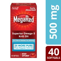 MegaRed Extra Strength Krill Oil Omega-3 Softgels, 500 Mg, 40 Ct