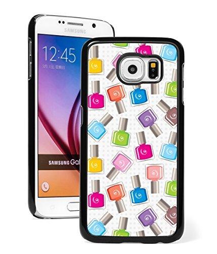 Samsung Galaxy (S7 Edge) Hard Back Case Cover Colorful Nail Polish Manicurist Pattern (Black )