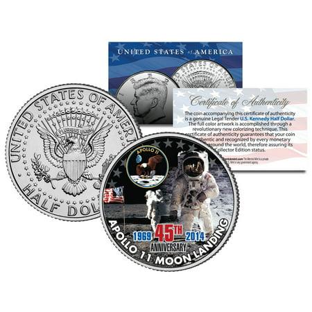 New Washington Dollar Coin (APOLLO 11 MOON LANDING *45th Anniversary* Colorized JFK Half Dollar US Coin)