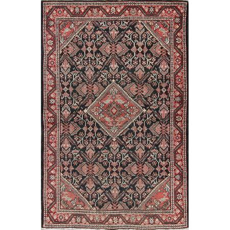 Geometric Red & Black & Pink Mahal Sarouk Antique Rug 4'x7' Oriental ()