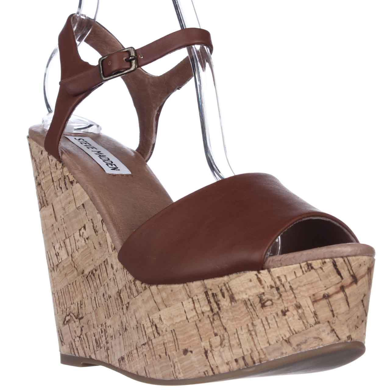 Womens Steve Madden Korkey Wedge Sandals - Cognac