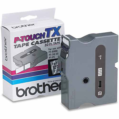 """Brother P-Touch TX Tape Cartridge for PT-8000, PT-PC, PT-30/35, 1""""W, Black on Clear"""