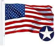 G128 - 2x3 feet American Flag   Embroidered 210D - Embroidered Stars, Sewn Stripes, Brass Grommets, Indoor/Outdoor, Vibrant Colors, Quality Polyester, US USA Flag
