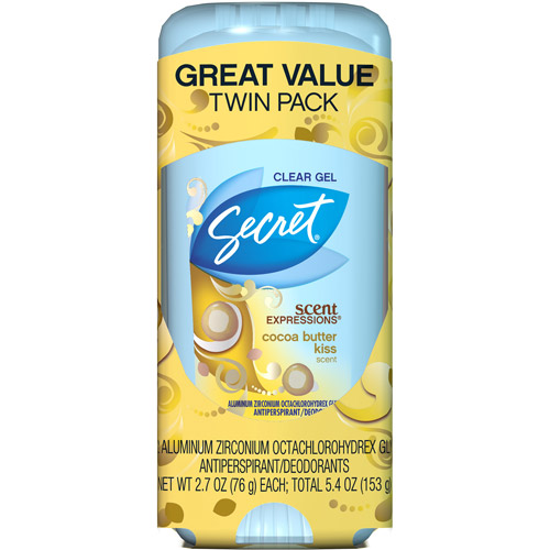 Secret Scent Expressions Cocoa Butter Kiss Scent Clear Gel Antiperspirant & Deodorant, 2.7 oz, (Pack of 2)