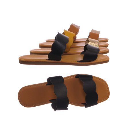 Upbeat29 by Bamboo, Wave .Scallop Twin Strap Slides - Women Flat Slide In Slipper Sandals](Foldable Slippers In A Bag)