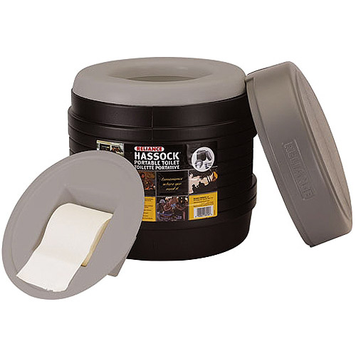 Reliance Products Hassock Portable chemical toilet with toilet paper holder