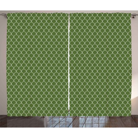 Green Curtains 2 Panels Set, Vivid Forest Natural Colored Geometric Wave Like Round Edged Shaped Image, Window Drapes for Living Room Bedroom, 108W X 108L Inches, Olive Green and White, by Ambesonne