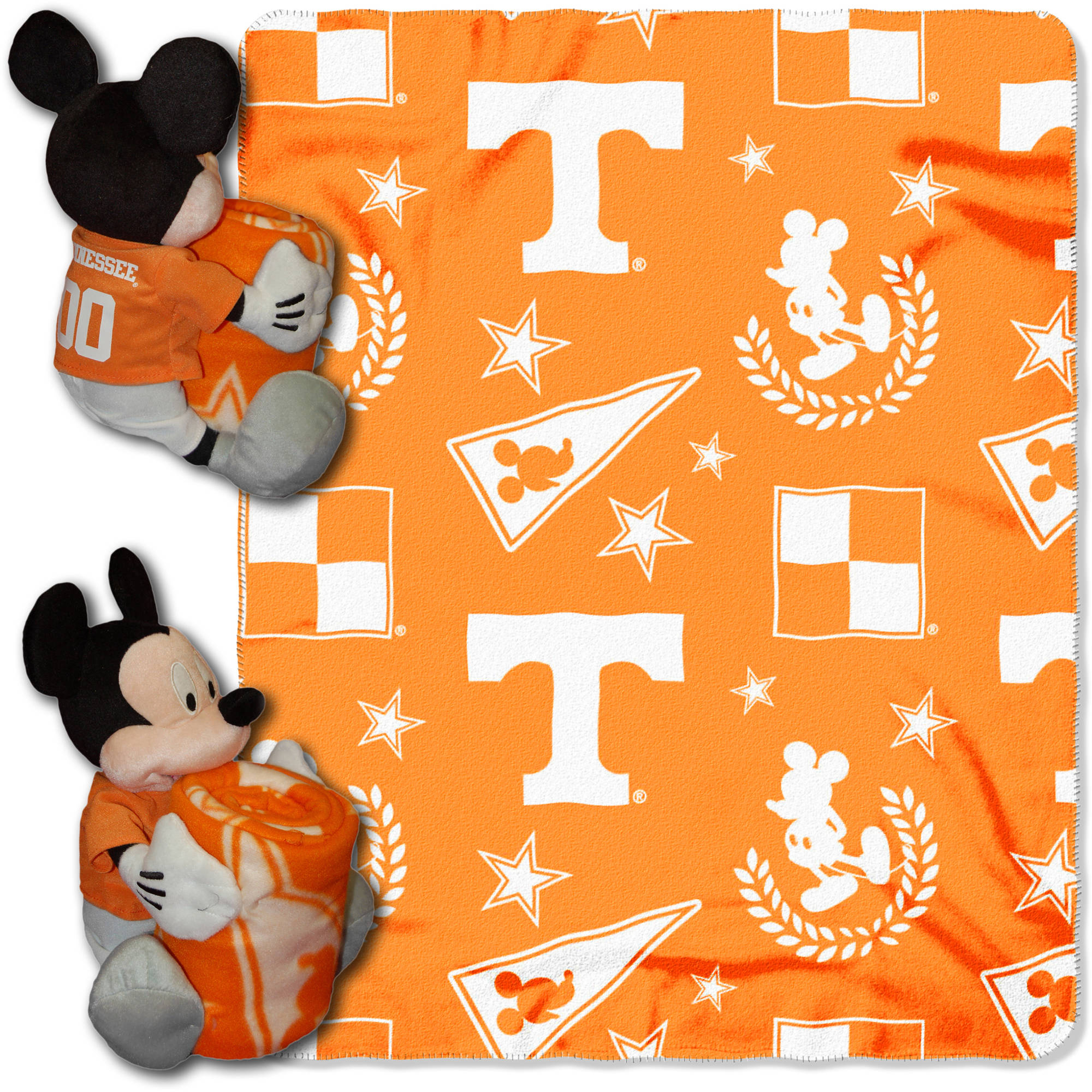 "Official NCAA and Disney Cobrand Tennessee Volunteers Mickey Mouse Hugger Character Shaped Pillow and 40""x 50"" Fleece Throw Set"