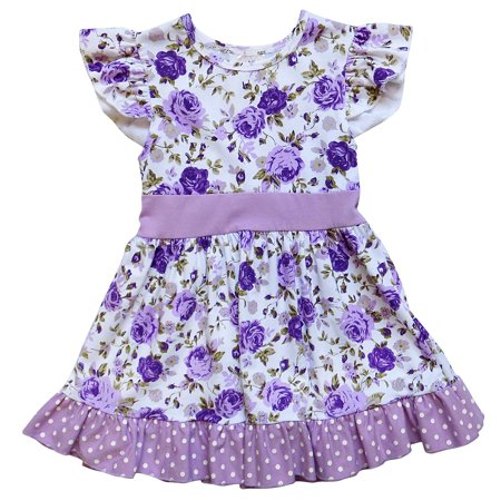 So Sydney Toddler or Girls Ruffle Bottom Flutter Sleeve Spring Summer Short Sleeve Stretch Cotton Dress