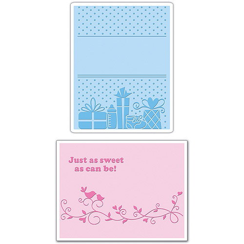 Sizzix Textured Impressions A6 Embossing Folders, Baby No.3, 2-Pack Multi-Colored