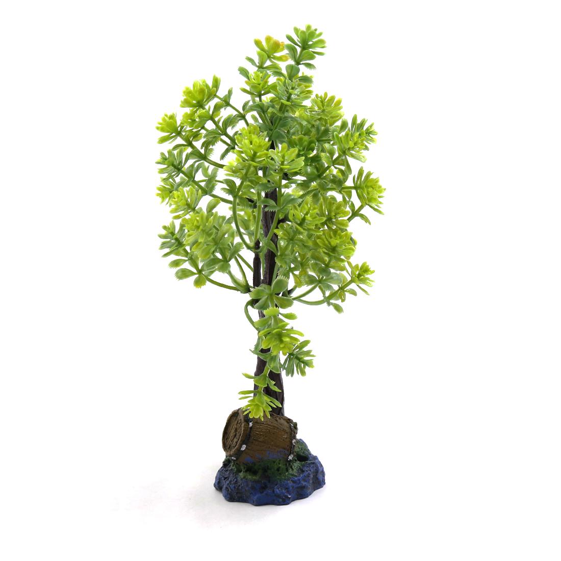 Green Plastic Tree Fishbowl Aquarium Decorative Plant Waterscape Decor w/ Stand - image 1 de 3