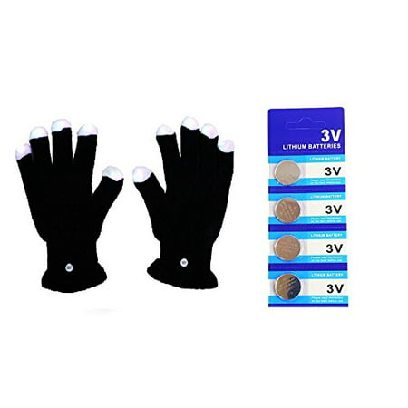 LED Light Gloves Xmas , Birthday , Halloween Gift, Event Light Show Party Gloves with Extra 4 Pcs of Batteries (Black 7 Color & 6 Modes Gloves)