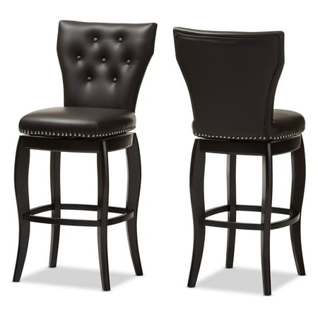 Baxton Studio Leonice Modern and Contemporary Upholstered Button-tufted 29-Inch Swivel Bar Stool, Multiple (Modern Upholstered Bar Stool)