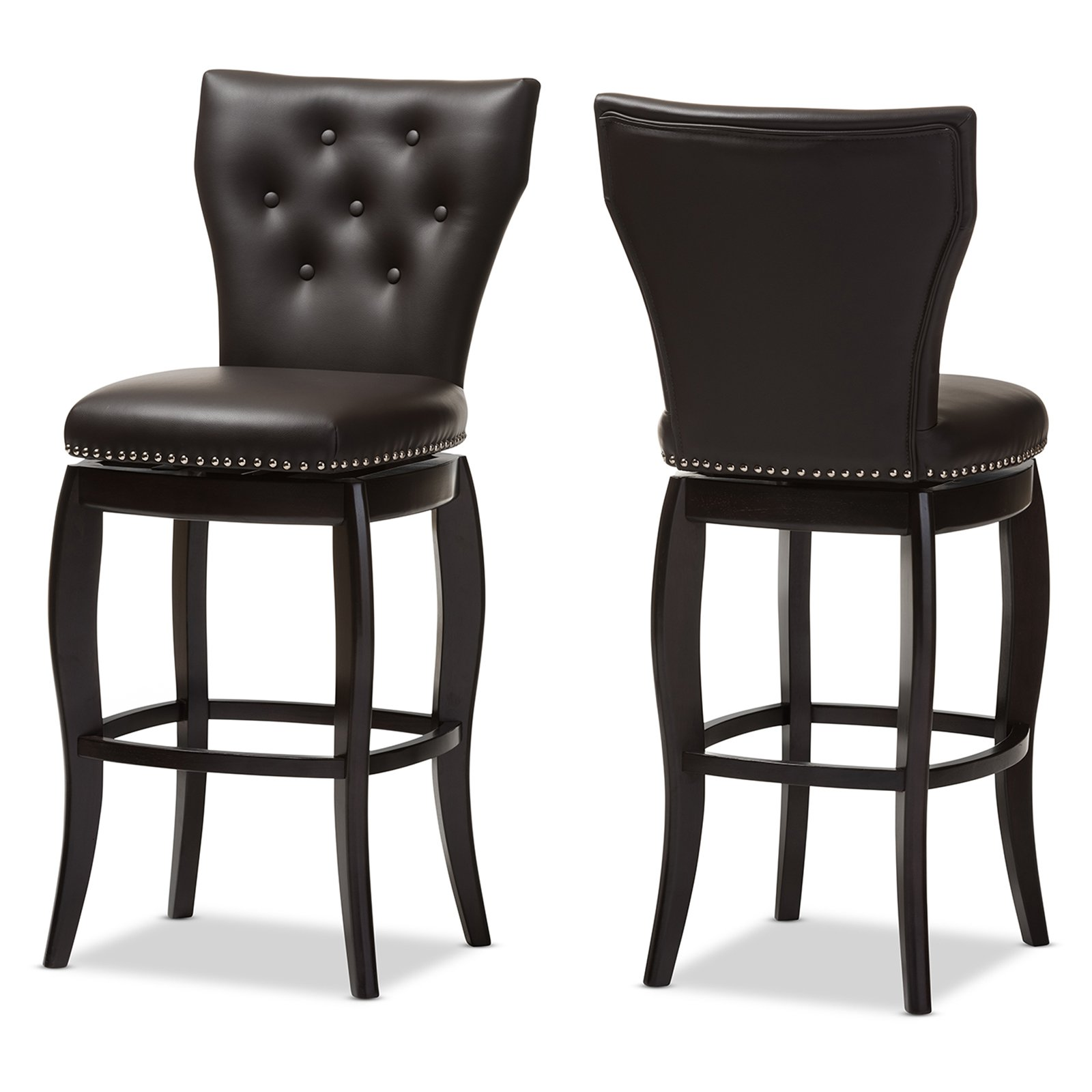 Baxton Studio Leonice Modern and Contemporary Upholstered Button-tufted 29-Inch Swivel Bar Stool, Multiple Colors