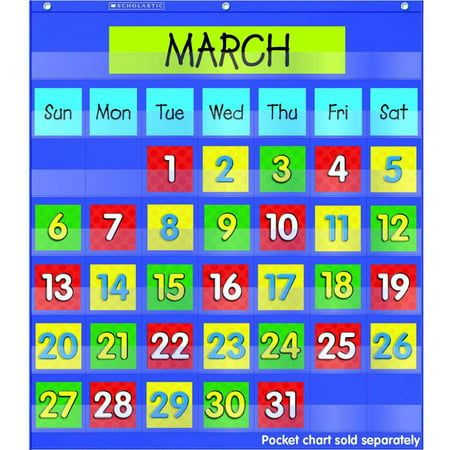 Scholastic monthly calendar pocket chart add on cards walmart com