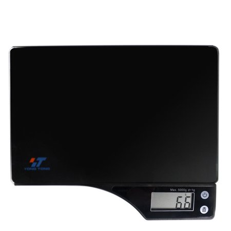 Digital Kitchen Food Scale with Electronic LCD | 11 lb 5 kg Black Glass Surface | 2 AAA Batteries