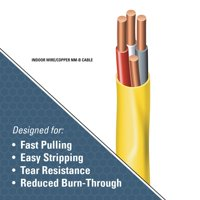 Southwire 63947622 50' 12/3 with ground Romex brand SIMpull residential indoor electrial wire type NM-B Yellow