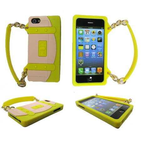 TCD iPhone 5 Yellow & Beige Silicone Purse Design Case + Screen