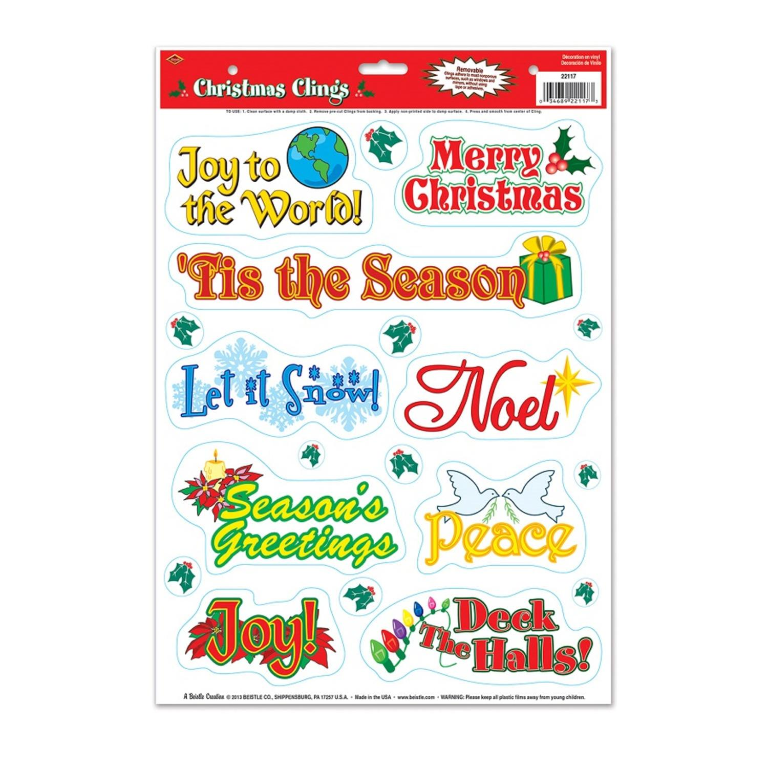 Club Pack of 228 Assorted Christmas Window Cling Decorati...