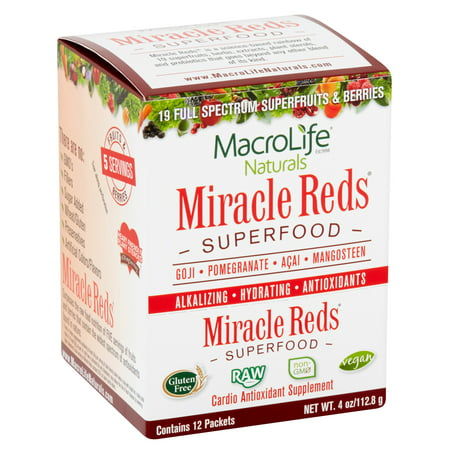 MacroLife Naturals Miracle Reds Superfood Powder, 4.0 Oz, 12 Ct
