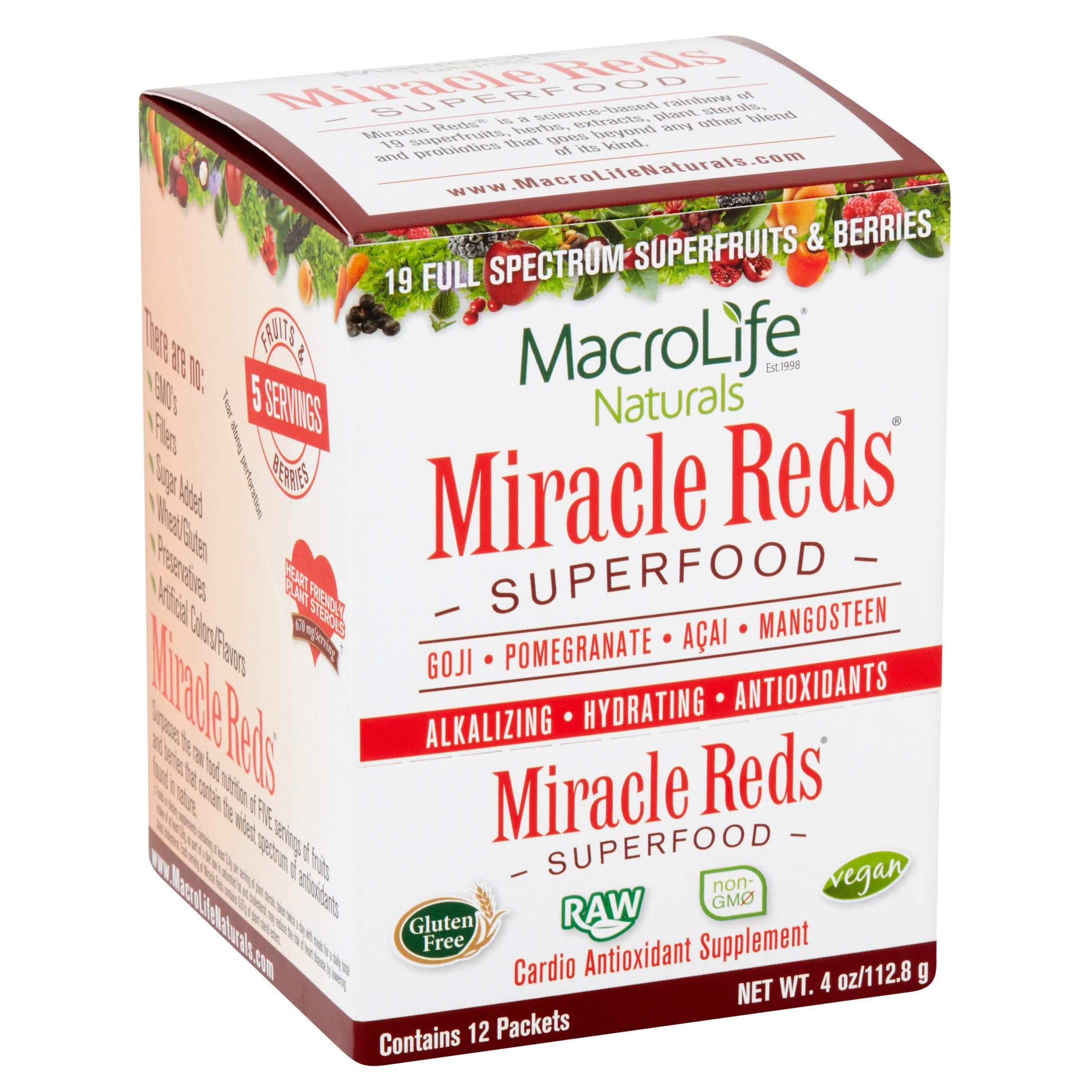 MacroLife Naturals Miracle Reds Superfood Powder, 4.0 Oz, 12 Ct