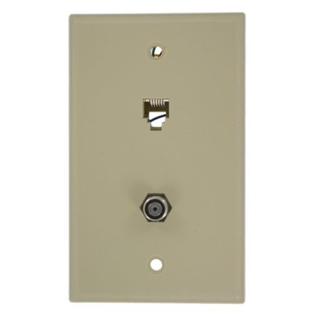 - Leviton 40258-I Ivory Combination Telephone Jack and F-Connector Wall Plate