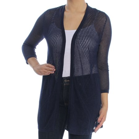 CHARTER CLUB Womens Navy Pointelle Open Cardigan Sweater  Size: S