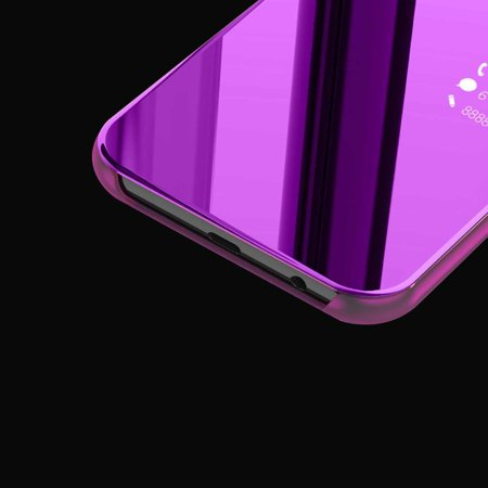 Newest Electroplated Smart Mirror Stand Case Mobile Phone Shell purple - image 1 de 6