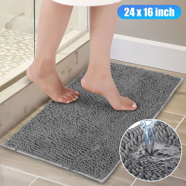 Non Slip Bathroom Rug Shag Shower Mat Machine Washable Bath Mats With Water Absorbent Soft Microfibers Carpet 24 X 16 Inches Gray Walmart Com Walmart Com