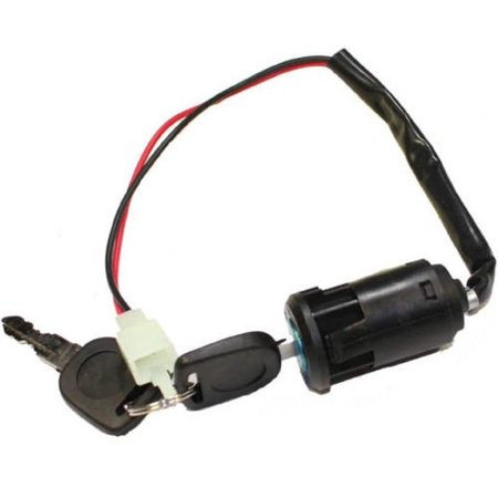 Electric Start Key Switch (2-Wire Black Ignition Key Switch (Snap on style) for Electric Scooter)
