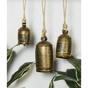 """Decmode - Large Gold Metal Bell Wind Chimes with Engraved Designs and Hanging Jute Ropes, Indoor/Outdoor Brass Bells, Set of 3: 22"""" x 5"""", 16"""" x 4"""", 13"""" x 3"""""""