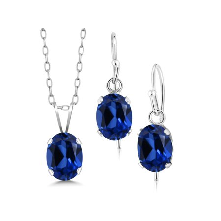 2.70 Ct Blue Simulated Sapphire 925 Silver Pendant Earrings Set With Chain Blue Sapphire Set Earrings