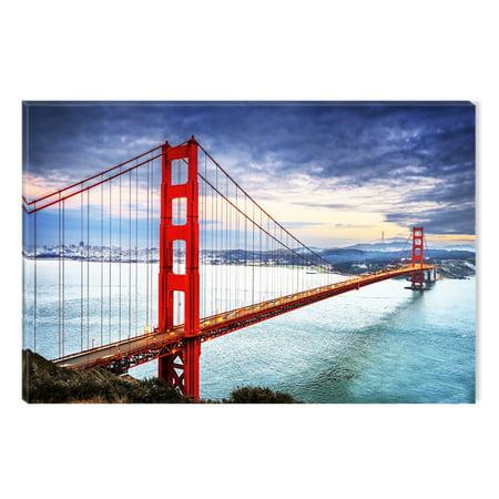 Startonight Canvas Wall Art San Francisco Bridge Red Accent, Dual ...