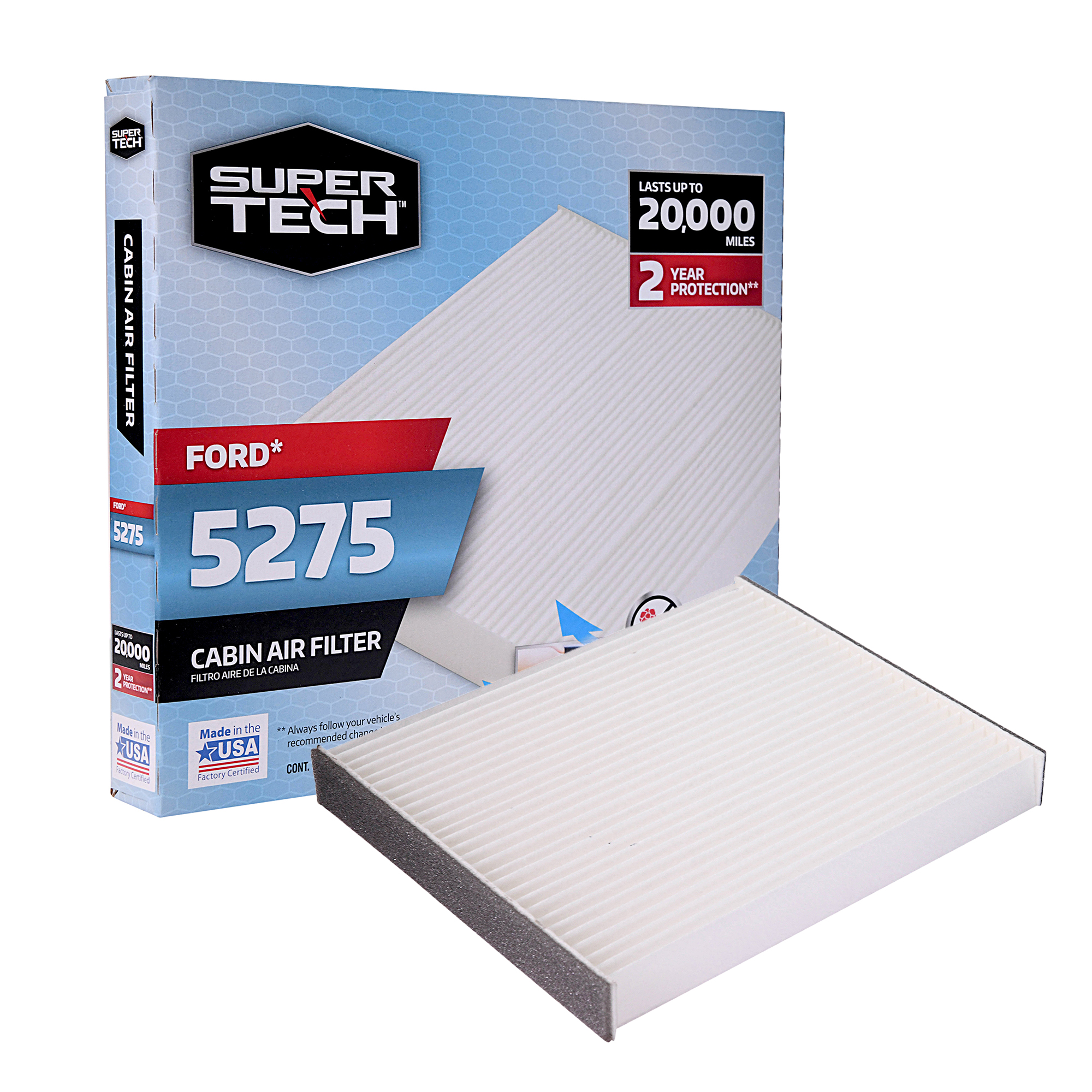 SuperTech Cabin Air Filter 5275, Replacement Air/Dust Filter for Ford