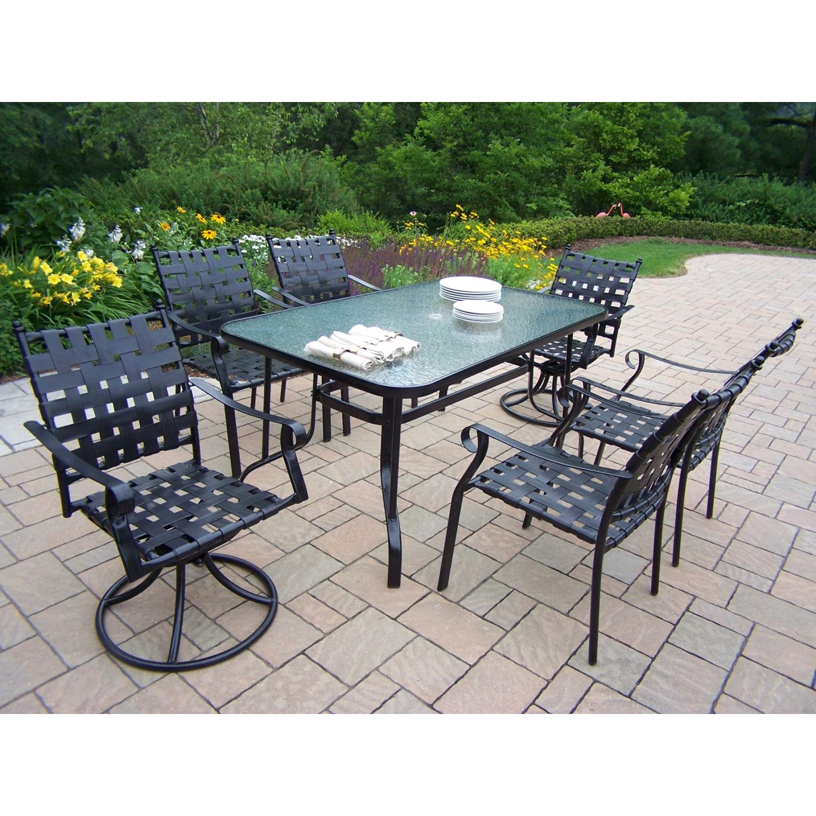 Oakland Living Web Patio Dining Set - Seats 6