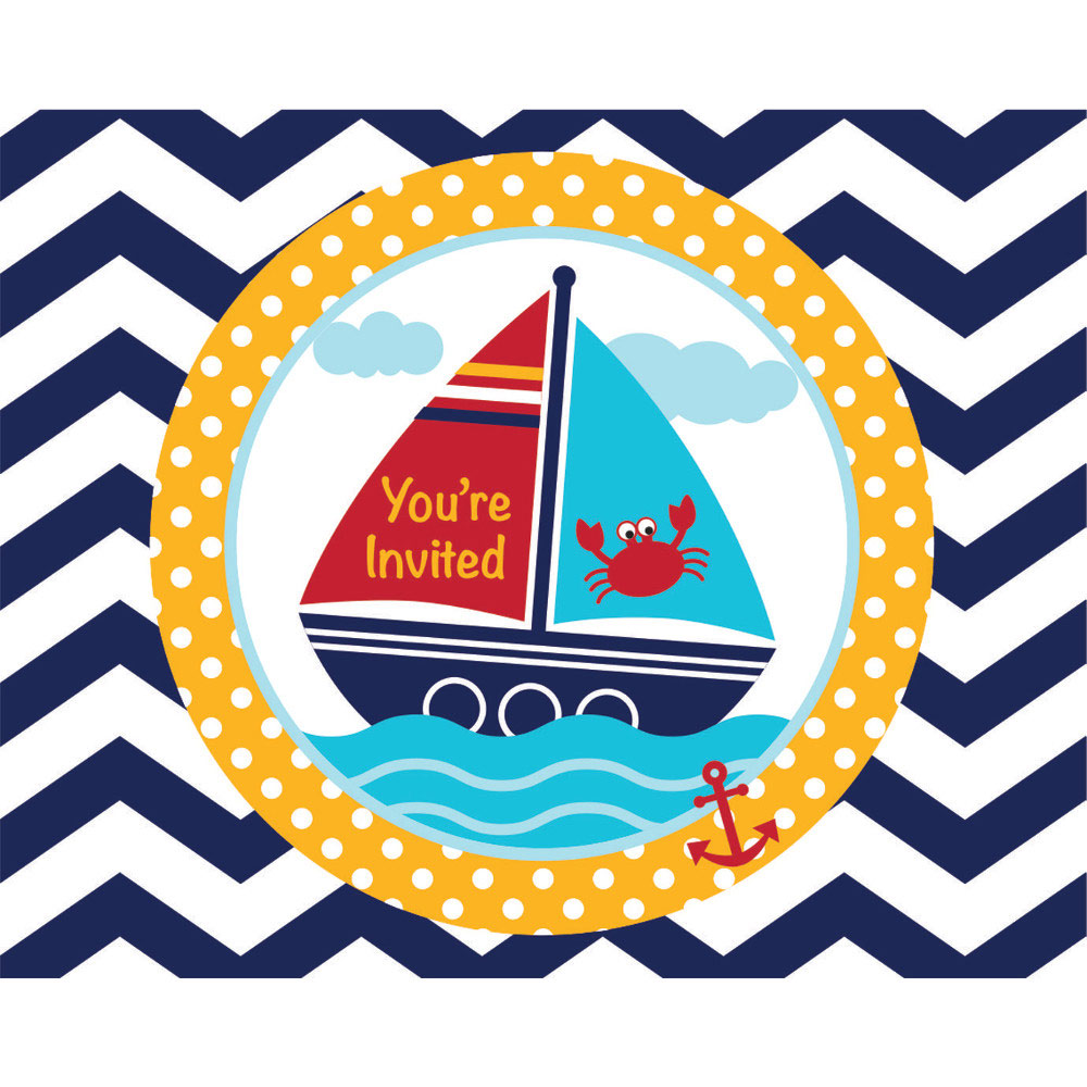 Baby Shower 'Ahoy Matey' Invitations w/ Envelopes (8ct)
